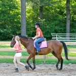Lesson horse and student - leadline